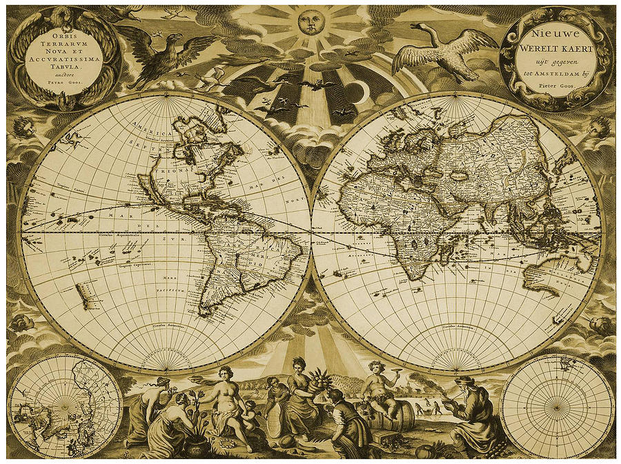 Antique World Map - Globes - Old Cartographic Map - Antique Maps ...