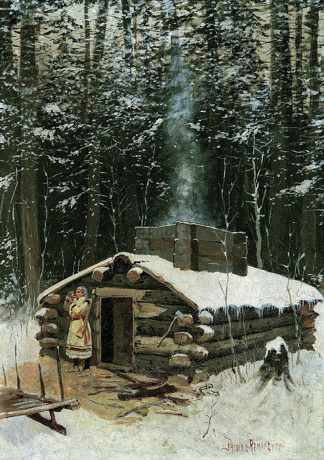 Frederic Remington Painting - Antoines Cabin, 1890 by Frederic Remington