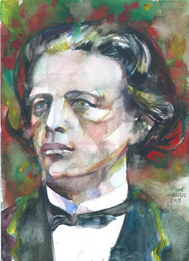 ANTON RUBINSTEIN watercolor portrait by Fabrizio Cassetta