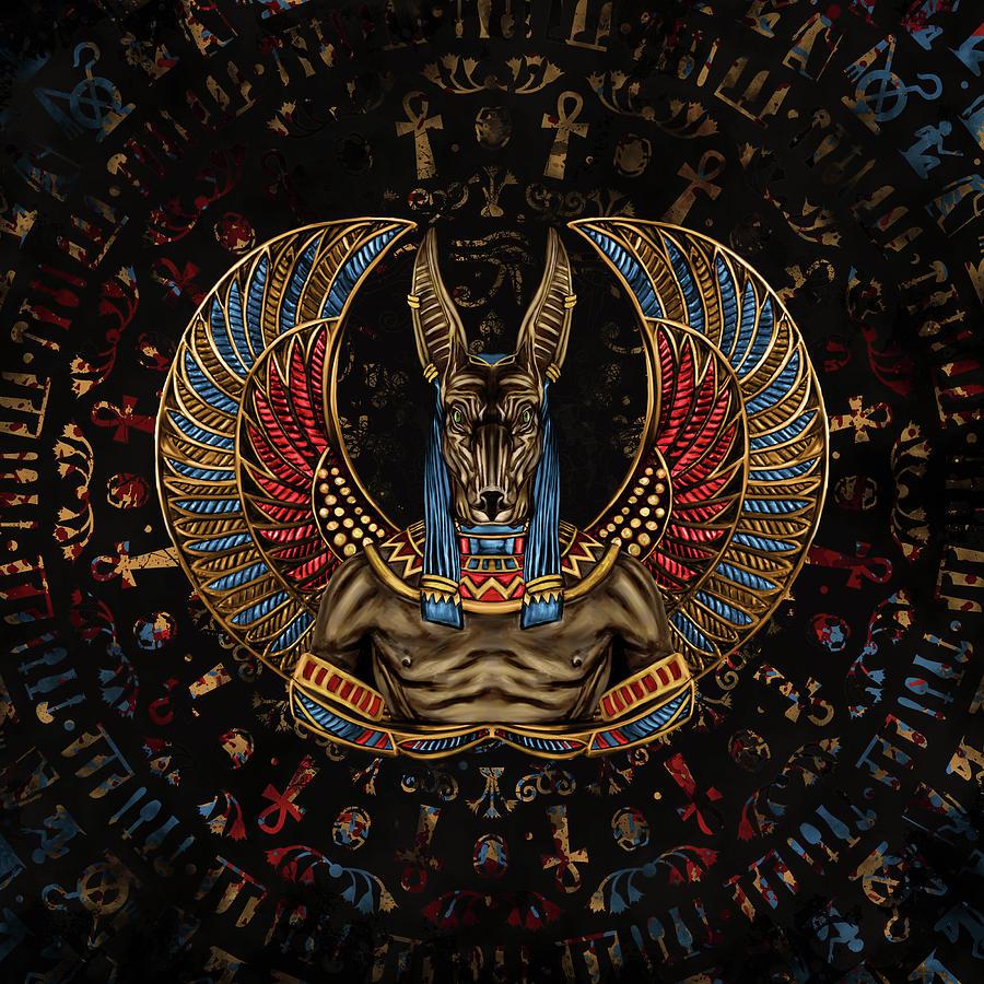 Anubis - Egyptian God Digital Art by Lioudmila Perry