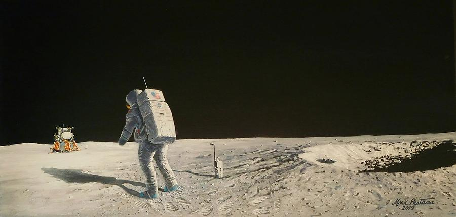 Neil Armstrong Painting - Apollo 11 Armstrong At East Crater by Mark Pestana