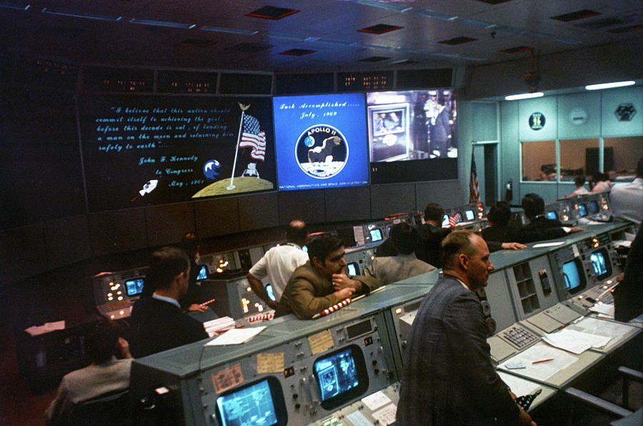 1969 Photograph - Apollo 11, Mission Operations Control by Science Source