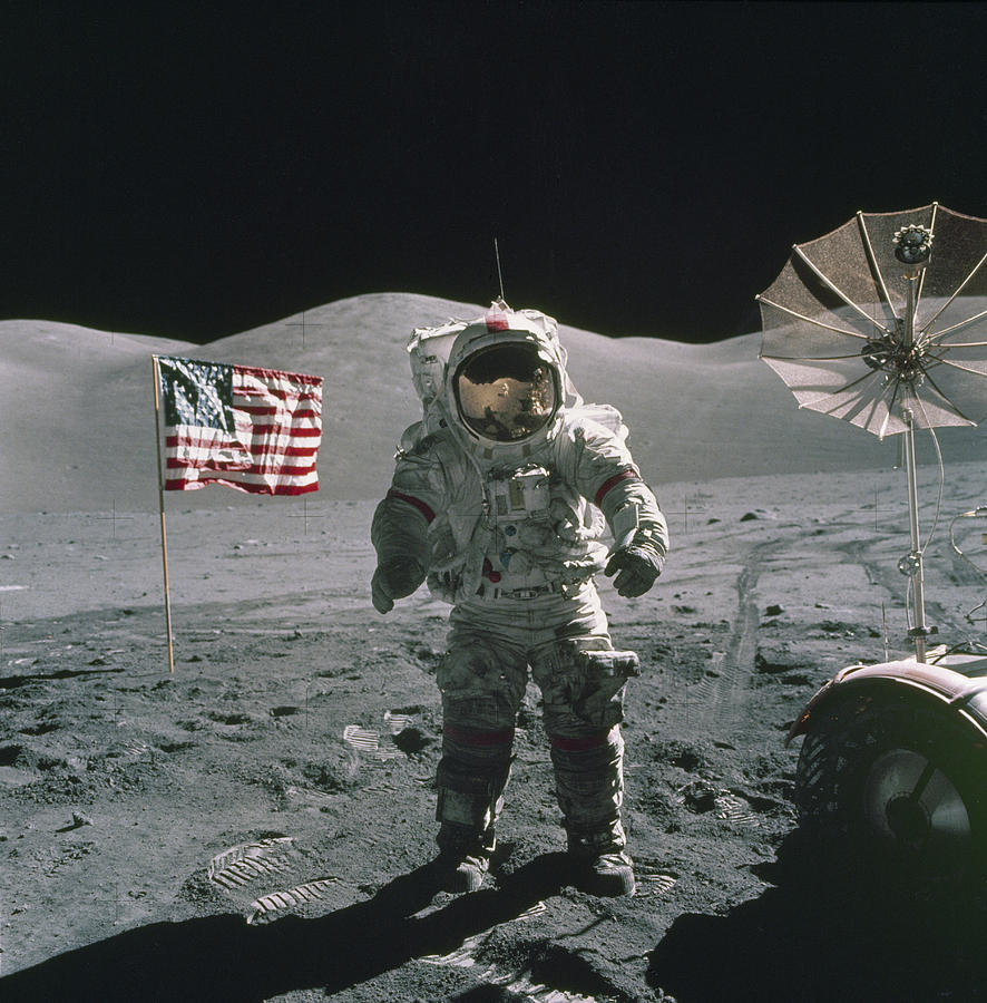 American Flag Painting - Apollo 17 by Cosmic Photo