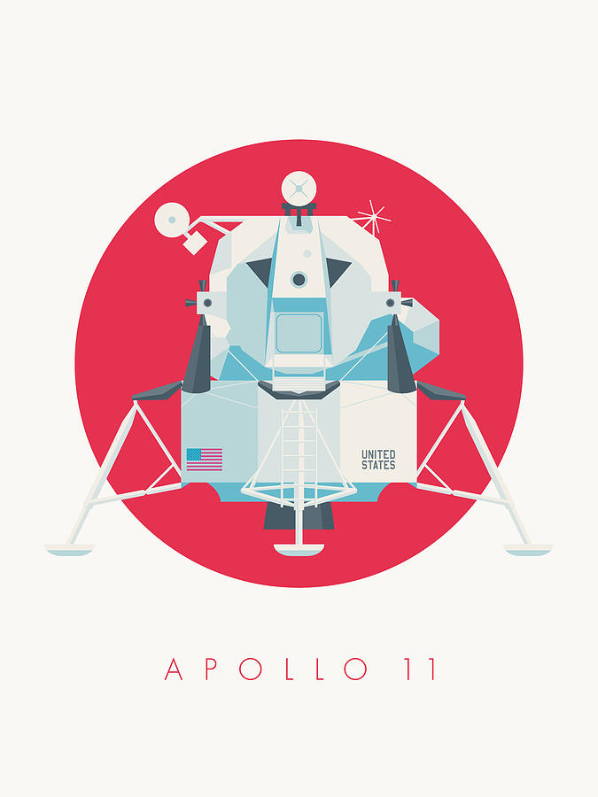 Apollo 11 Digital Art - Apollo Lunar Module Lander Minimal - Text Crimson by Ivan Krpan
