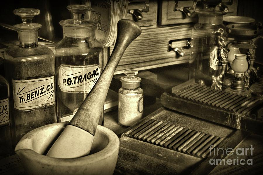 Paul Ward Photograph - Apothecary-vintage Pill Roller Sepia by Paul Ward