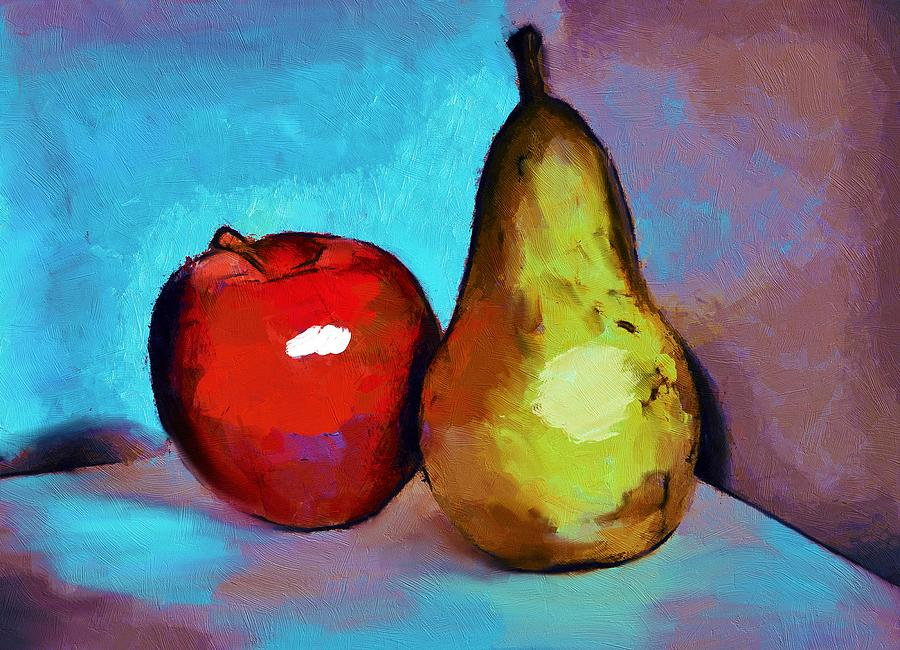 Apple Painting - Apple And Pear by ArtMarketJapan