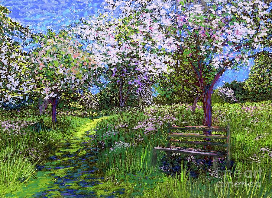 Floral Painting - Apple Blossom Trees by Jane Small