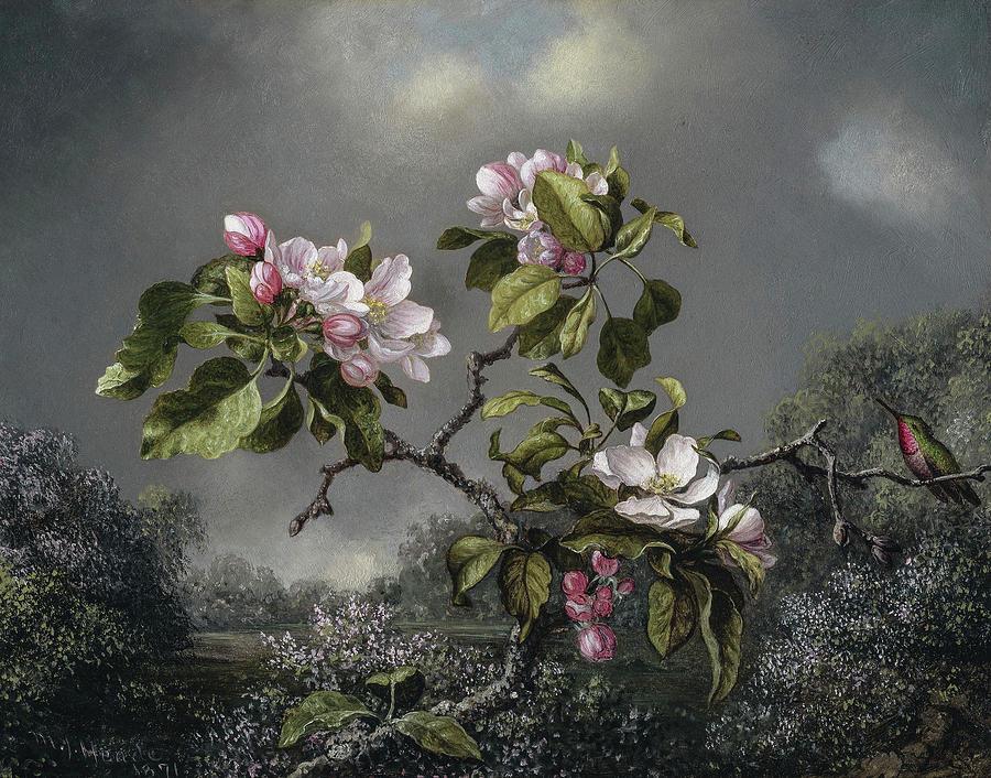 Martin Johnson Heade Painting - Apple Blossoms And Hummingbird, Circa 1871 by Martin Johnson Heade