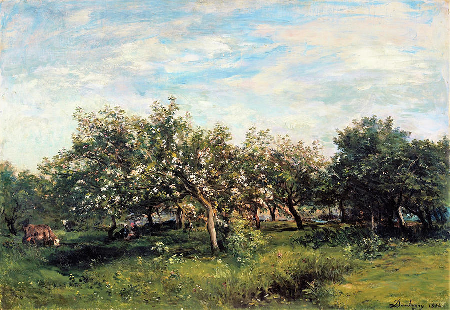 Apple Blossoms Painting - Apple Blossoms - Digital Remastered Edition by Charles-Francois Daubigny