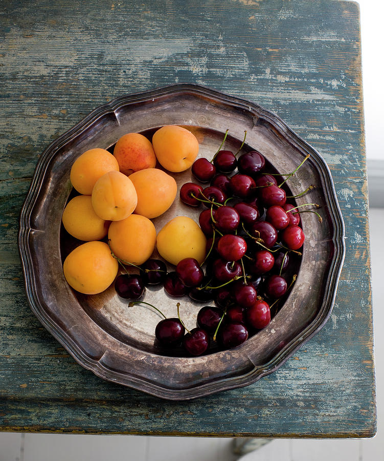 Apricots And Cherries On Silver Tray Photograph by Bjurling, Hans