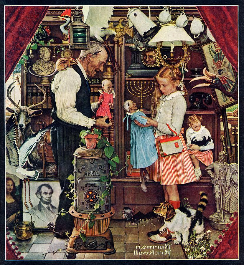 Antiques Drawing - April Fool, 1948 by Norman Rockwell