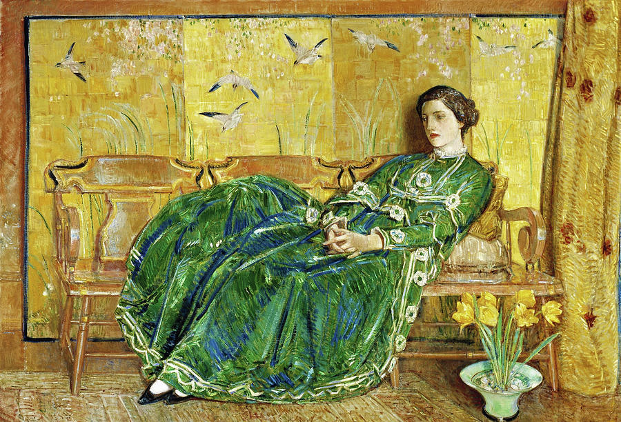 Frederick Childe Hassam Painting - April, The Green Gown - Digital Remastered Edition by Frederick Childe Hassam
