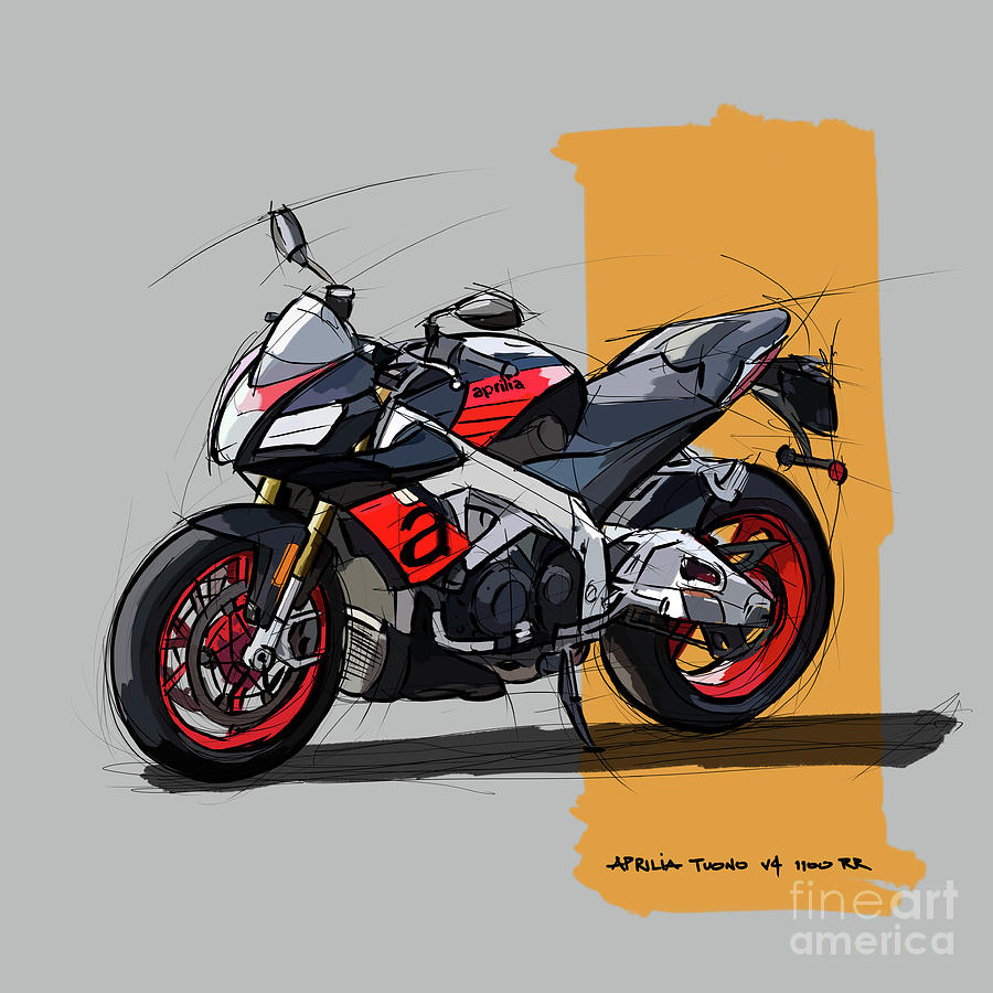 2017 Digital Art - Aprilia Tuono V4 1100 Rr, Original Handmade Sketch Birthday Gift by Drawspots Illustrations