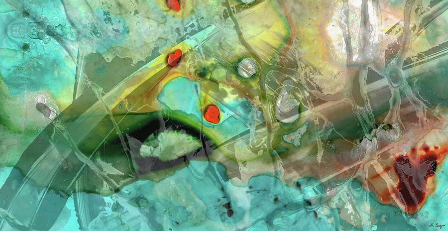 Teal Painting - Aqua And Yellow Abstract Art - Juxtaposition - Sharon Cummings by Sharon Cummings