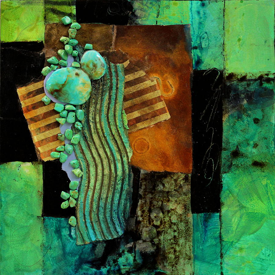 Collage Painting - Aqua Flow by Carol Nelson