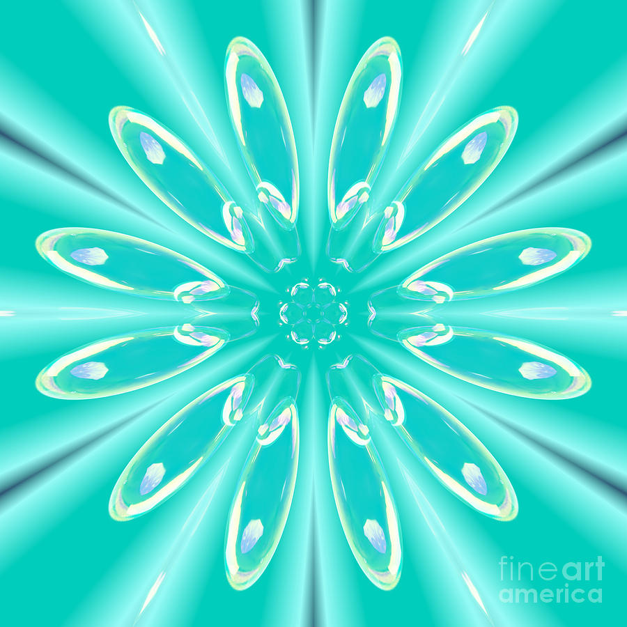 Aqua Flower Burst by Rachel Hannah