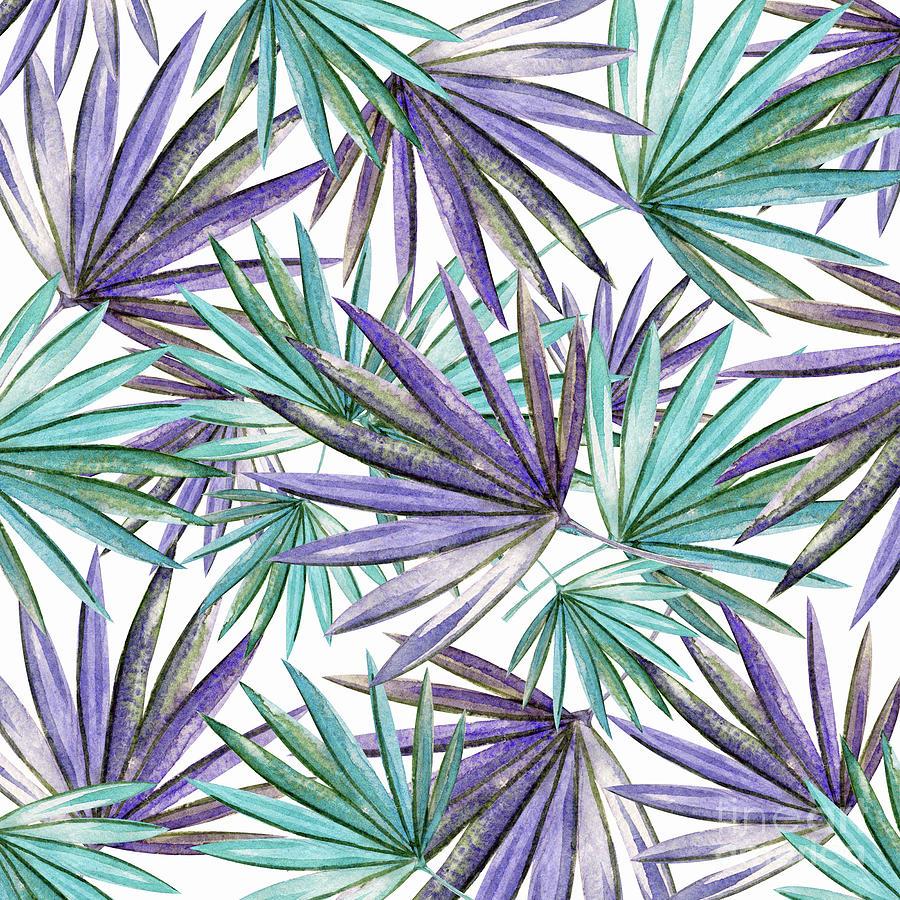 Aqua Purple Palm Pattern by Kaye Menner by Kaye Menner
