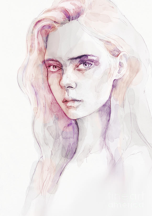 Aquarelle portrait of a girl by Dimitar Hristov