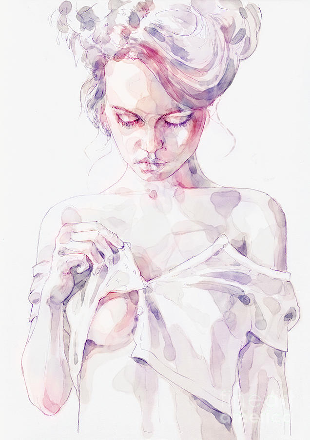 Aquarelle sensual portrait of a girl by Dimitar Hristov
