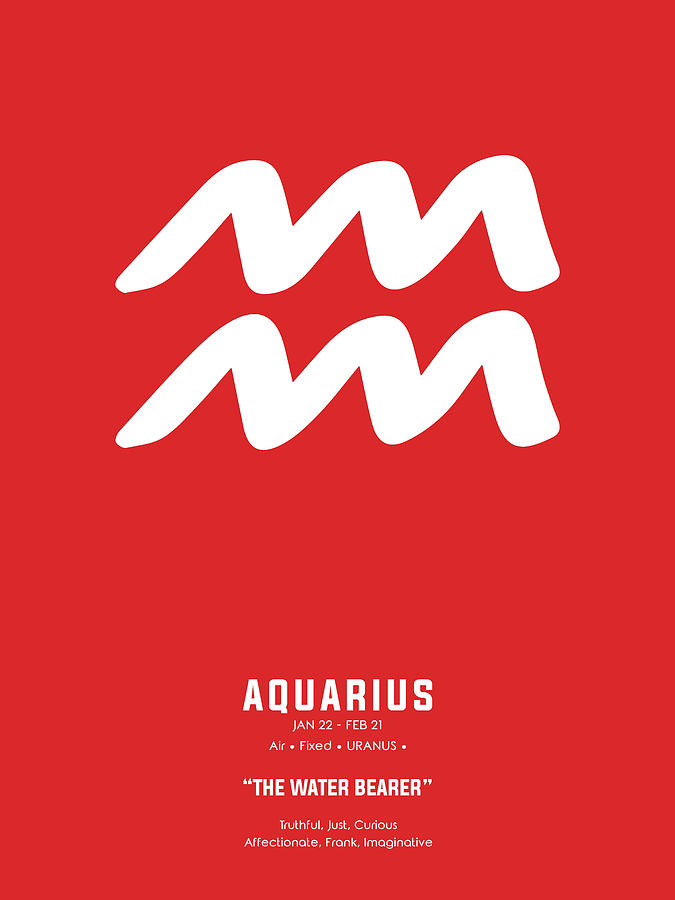 Aquarius Print - Zodiac Signs Print - Zodiac Posters - Aquarius Poster - Red And White Mixed Media