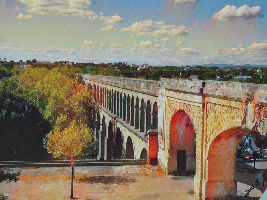 Aqueduct in Montpellier by Bearj B Photo Art