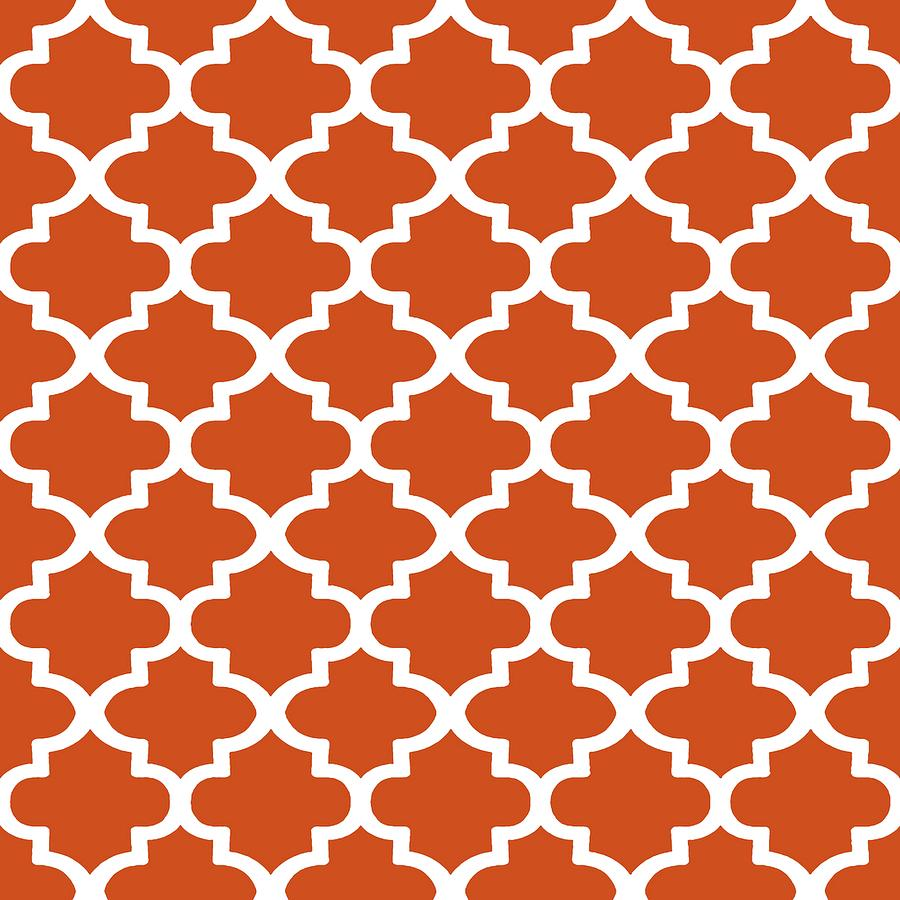 Arabesque Architecture Pattern In Burned Orange by Taiche Acrylic Art