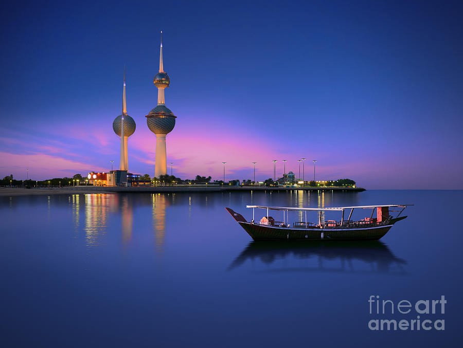 Dhow Photograph - Arabian Passenger Boat During Blue Hour by Arlo Magicman