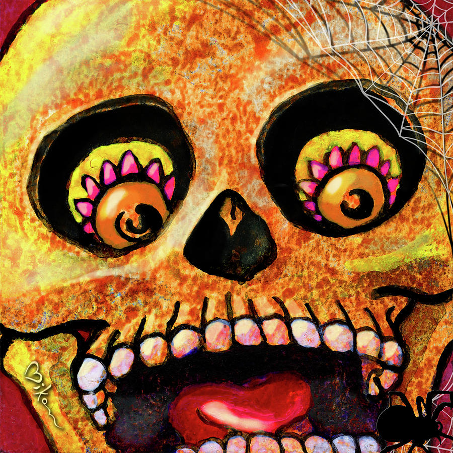 Day Of The Dead Painting - Aranas Sugarskull Of Spiders by Miko Zen