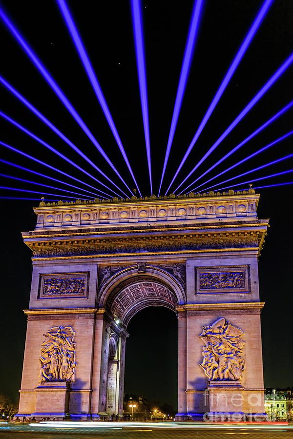 Arc De Triomphe De Letoile Night Laser Photograph by Kai Reiber