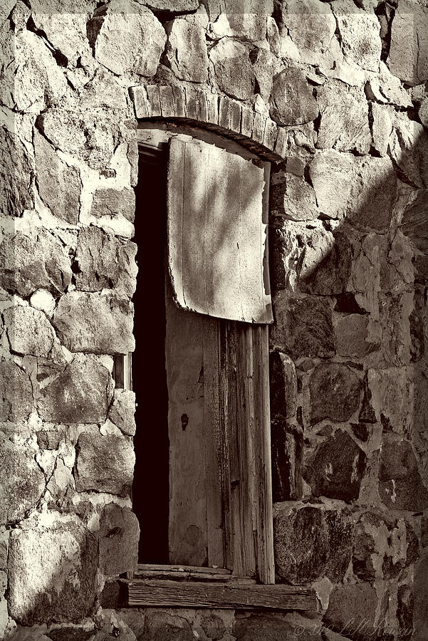 Stone House Photograph - Arch Stone Window In Black And White by Images Undefined