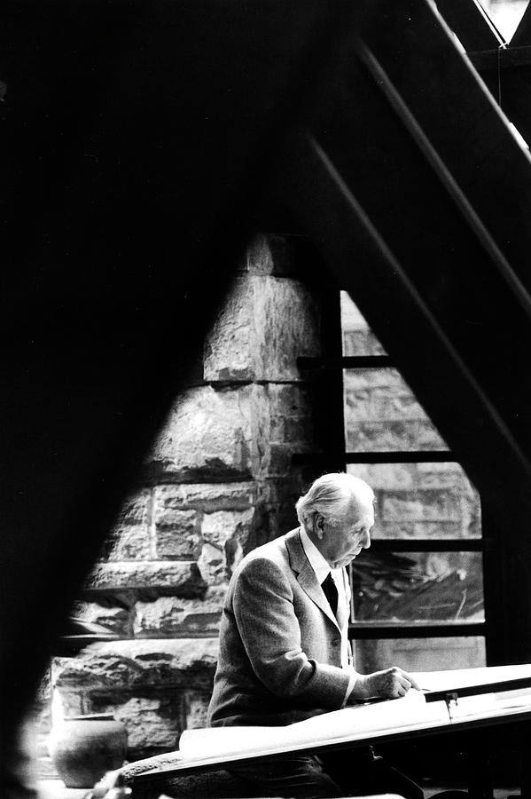Architect Frank Lloyd Wright Working At Photograph by Alfred Eisenstaedt