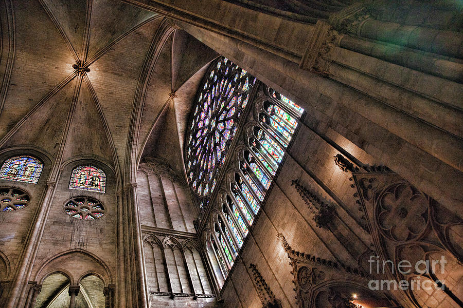 Architecture Interior Notre Dame Paris  by Chuck Kuhn