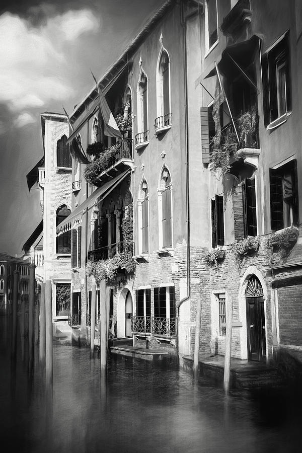 Venice Photograph - Architecture Of The Grand Canal Venice Italy Black And White by Carol Japp