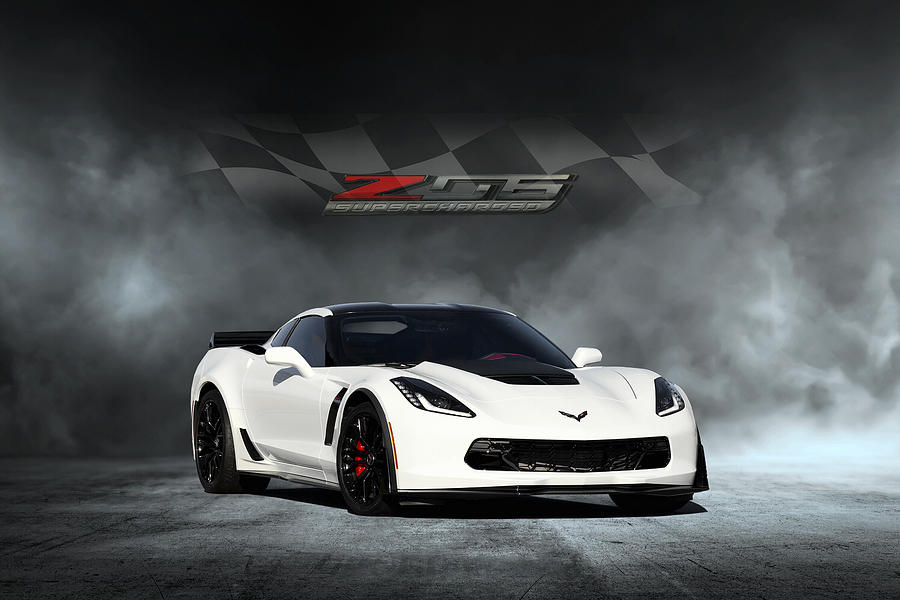 Chevrolet Digital Art - Arctic White Z06 by Peter Chilelli