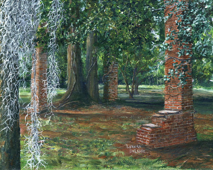 Ardoyne Ruins near the Mansion, Houma, Louisiana by Lenora De Lude