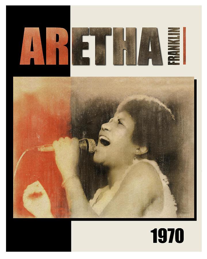Aretha Franklin Digital Art - Aretha Franklin 1970 by Regina Wyatt