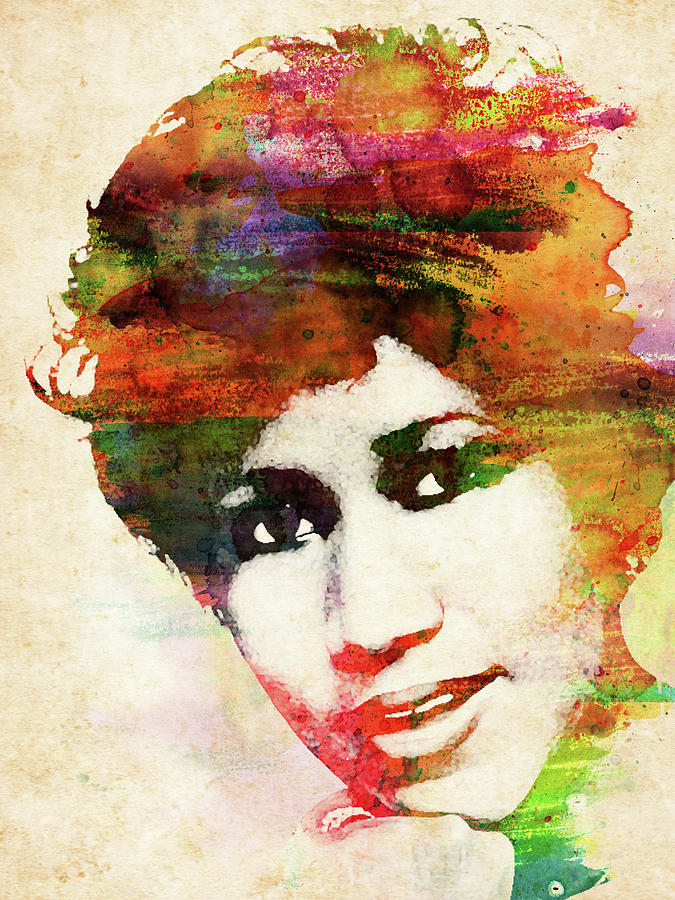 Aretha Franklin Colorful Watercolor Digital Art