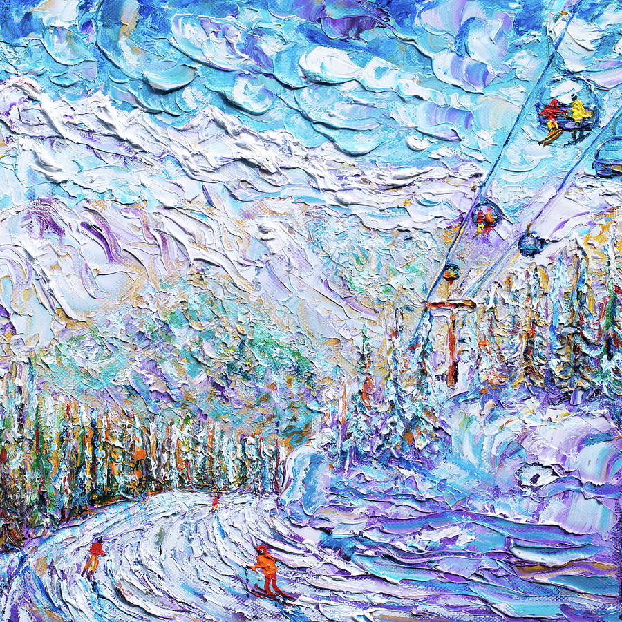 Argentiere on the piste for once Skiing Print by Pete Caswell