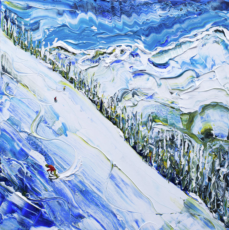 Argentiere Ski Print by Pete Caswell
