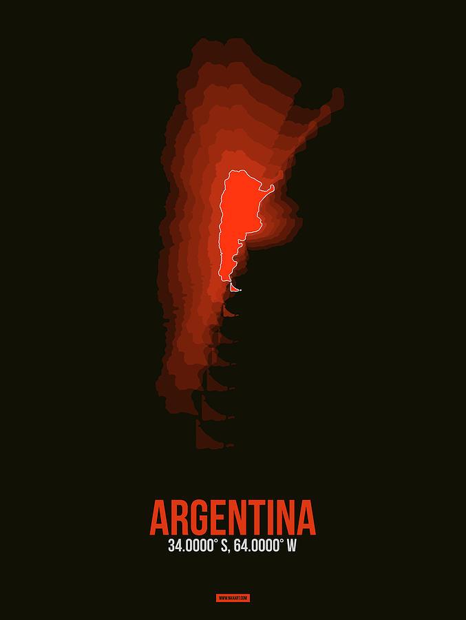 Argentina Digital Art - Argentina Radiant Map 3 by Naxart Studio