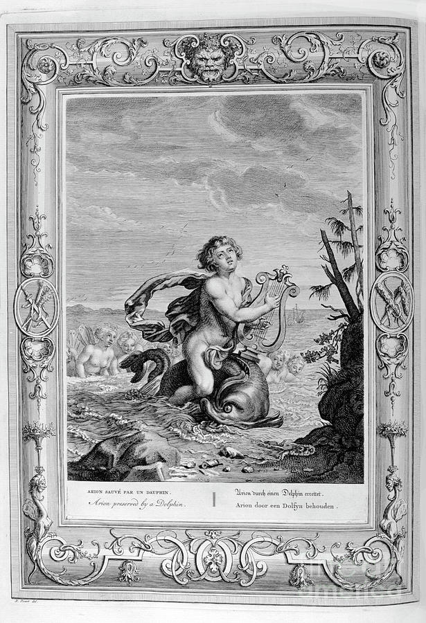 Arion Saved By A Dolphin, 1733. Artist Drawing by Print Collector