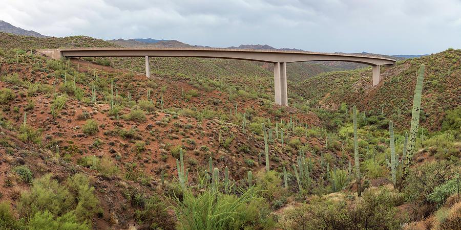 Arizona Highway Bridge Panoramic View Photograph