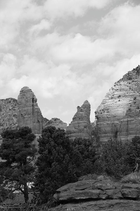 Arizona Mountain Red Rock Monochrome Photograph by Sassy1902