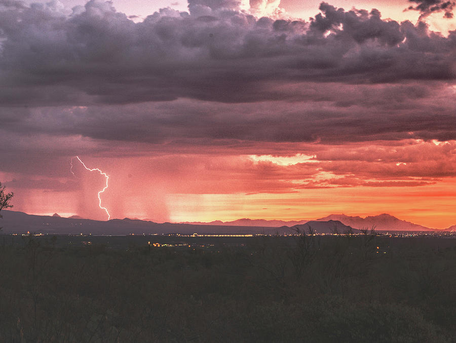 Arizona Sunset Lightning  by Chance Kafka