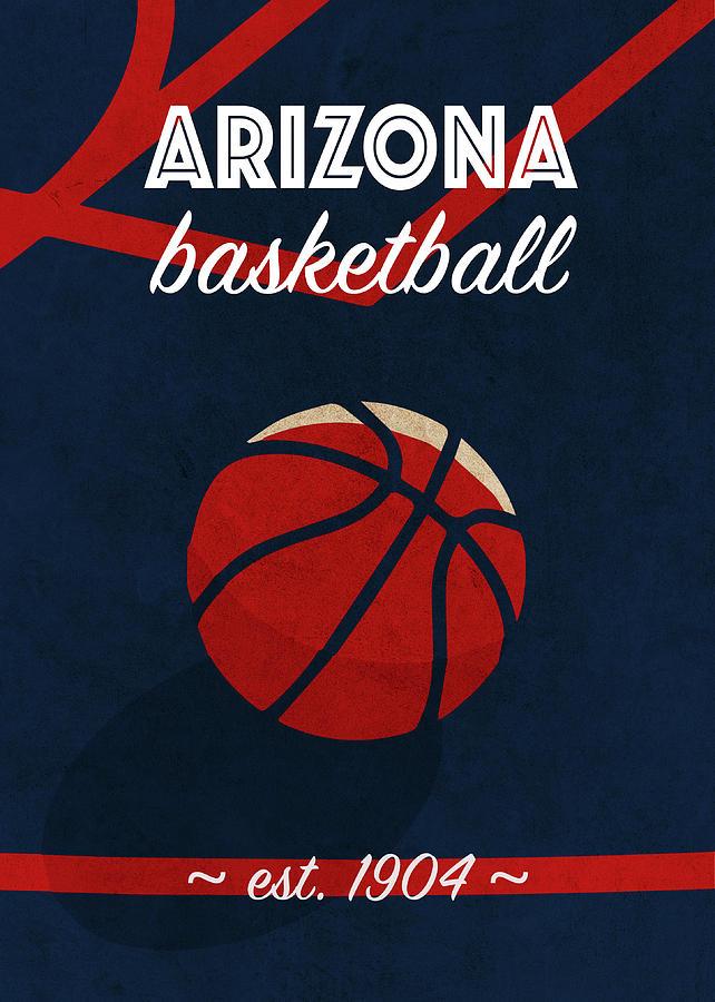 Arizona Mixed Media - Arizona University Retro College Basketball Team Poster by Design Turnpike