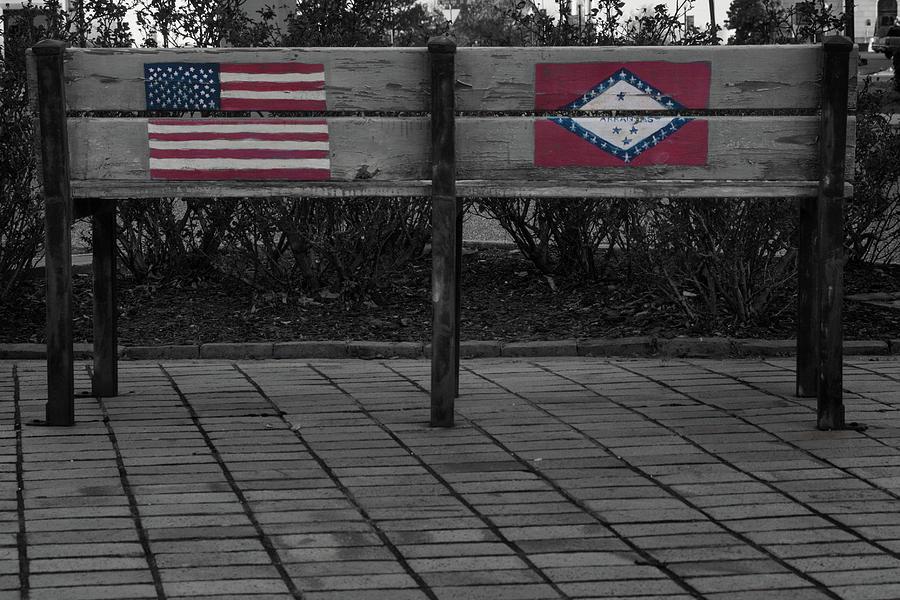 Arkansas Flag on Bench by Eugene Campbell