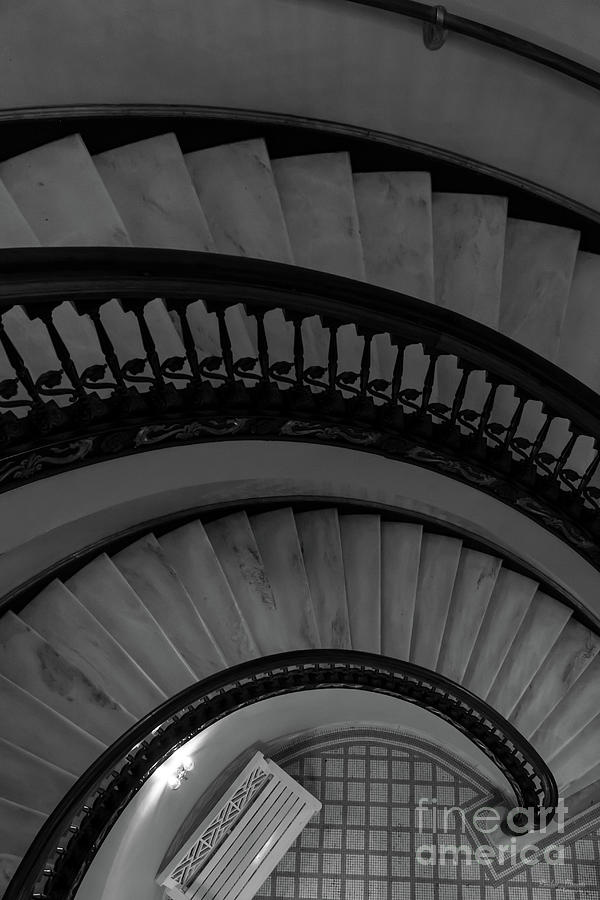 Abstract Photograph - Arlington Stairs Layers Grayscale by Jennifer White