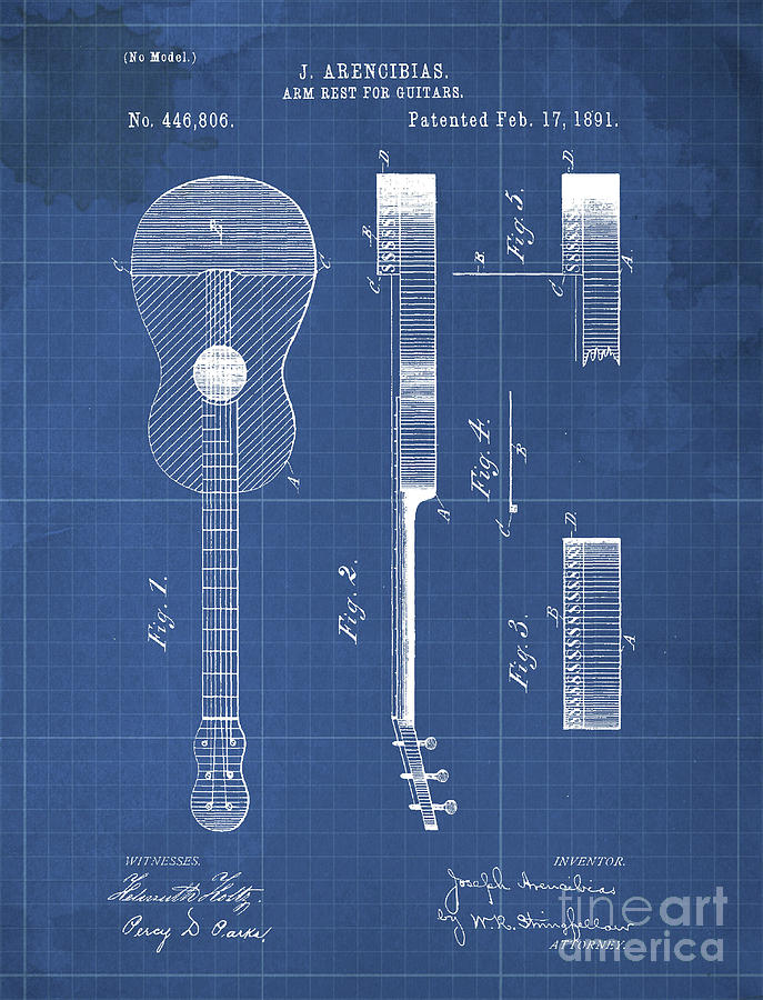 Patent Drawing - Arm Rest For Guitars Patent Year 1891 by Drawspots Illustrations