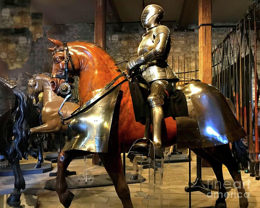 Medieval Armored Horse and Man by Janette Boyd