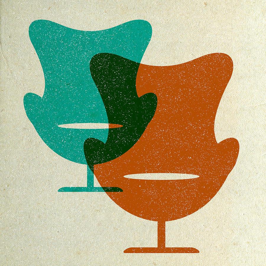 Mid-century Digital Art - Arne Jacobsen Egg Chairs II by Naxart Studio